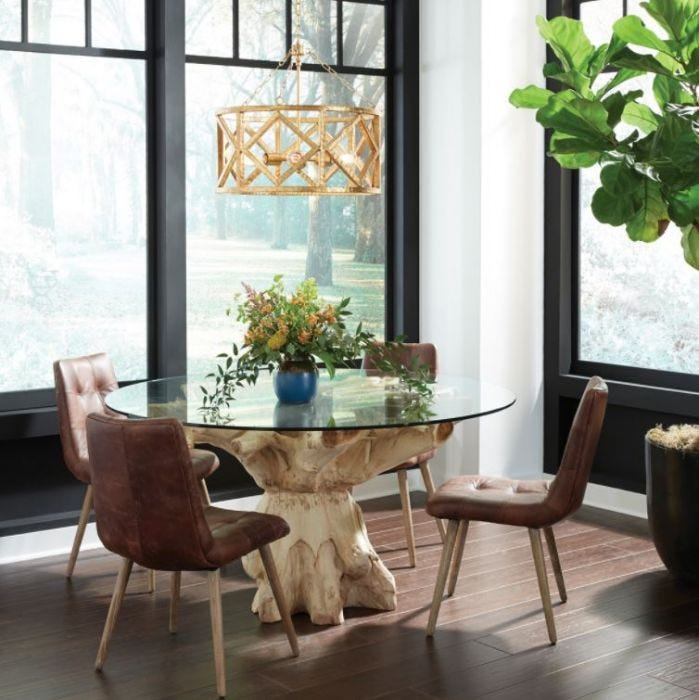 Round Glass Top Dining Table W Teak Base, 60 Round Glass Dining Room Table