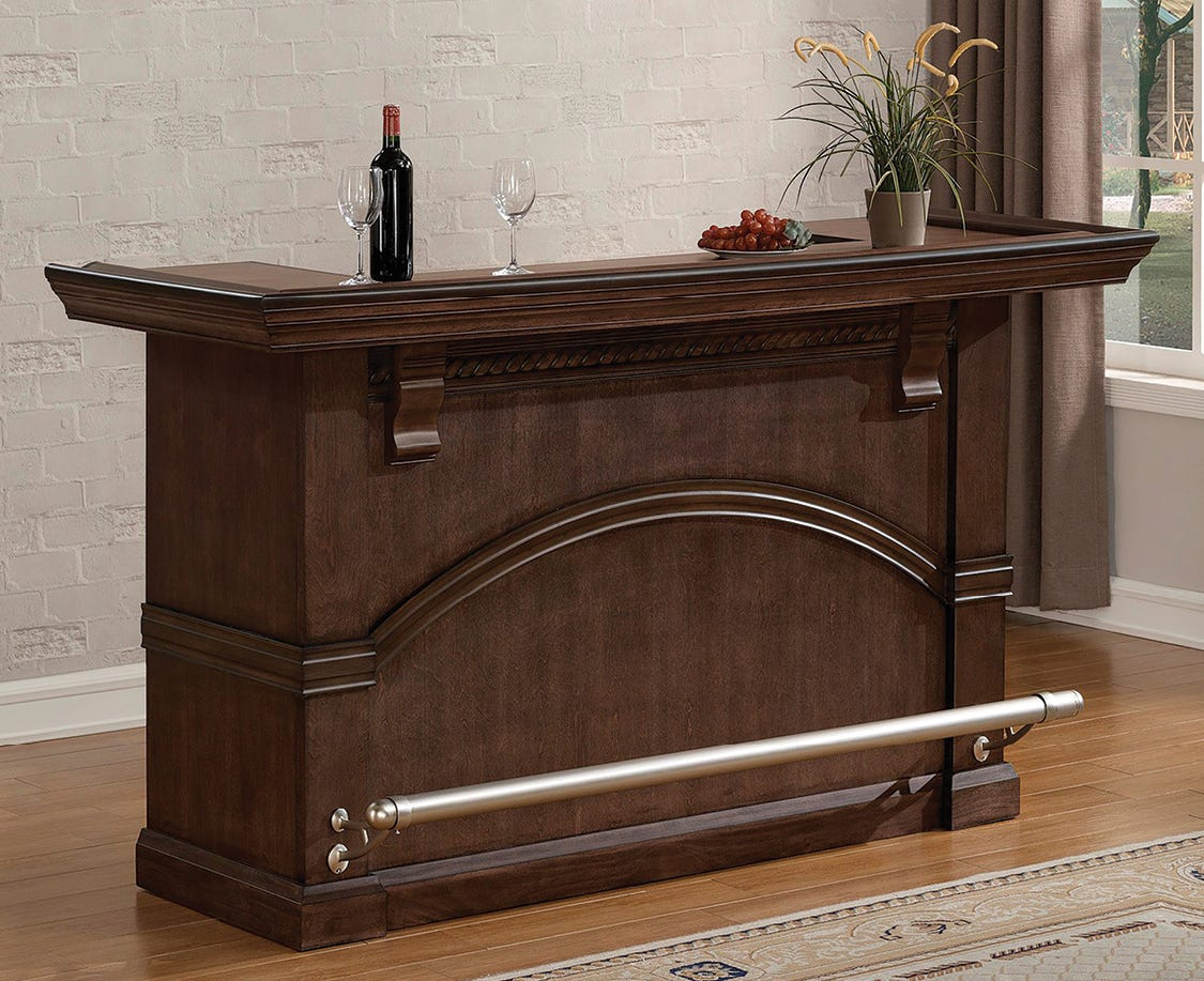 Traditional home bar in a living room