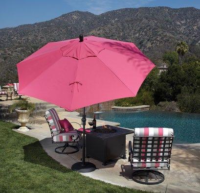 Umbrella over patio set