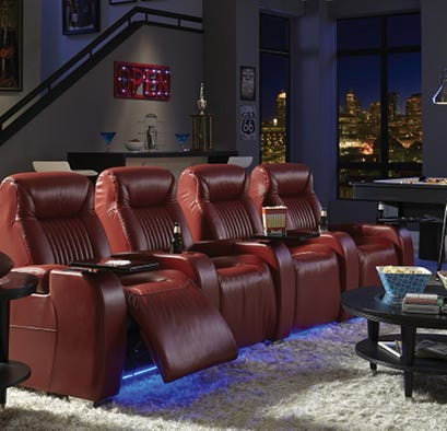 Red leather home theater set in media room