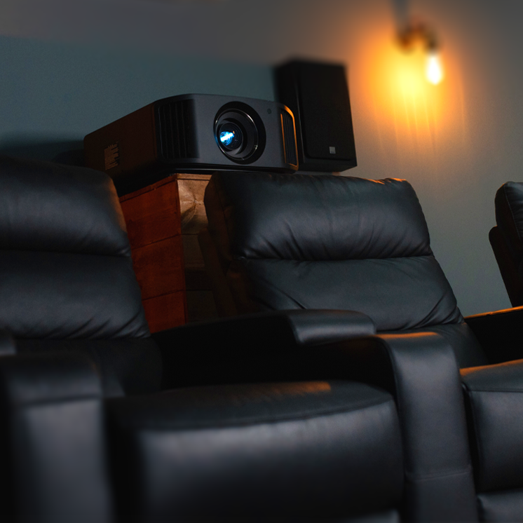 Black leather home theater