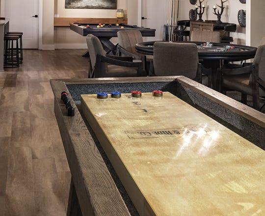 Shuffleboard in a game room