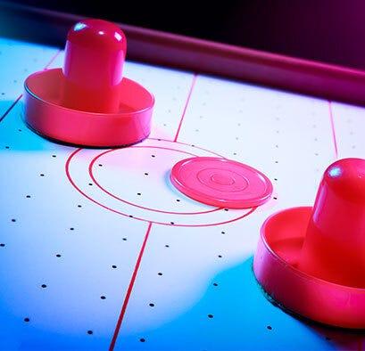 Air hockey table close-up
