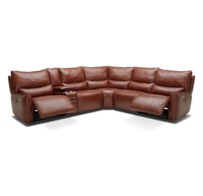 Beckett Sectional with brown leather