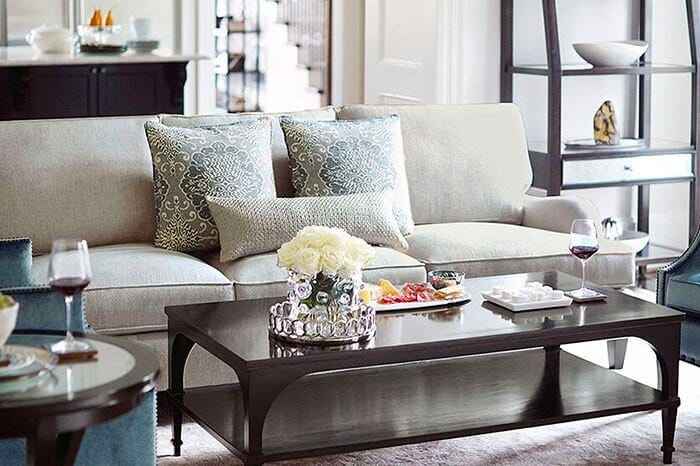 White Bernhardt sofa with coffee table