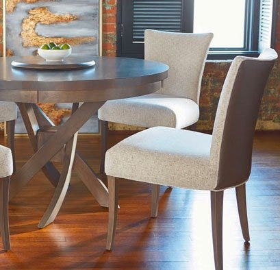 Bermex dining set with leather and fabric chairs