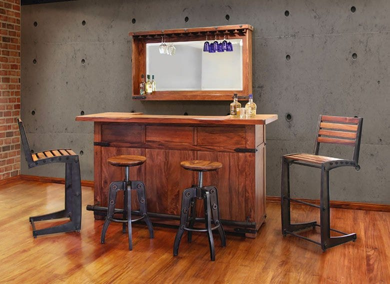 Home bar with bar stools and mirrored bar back