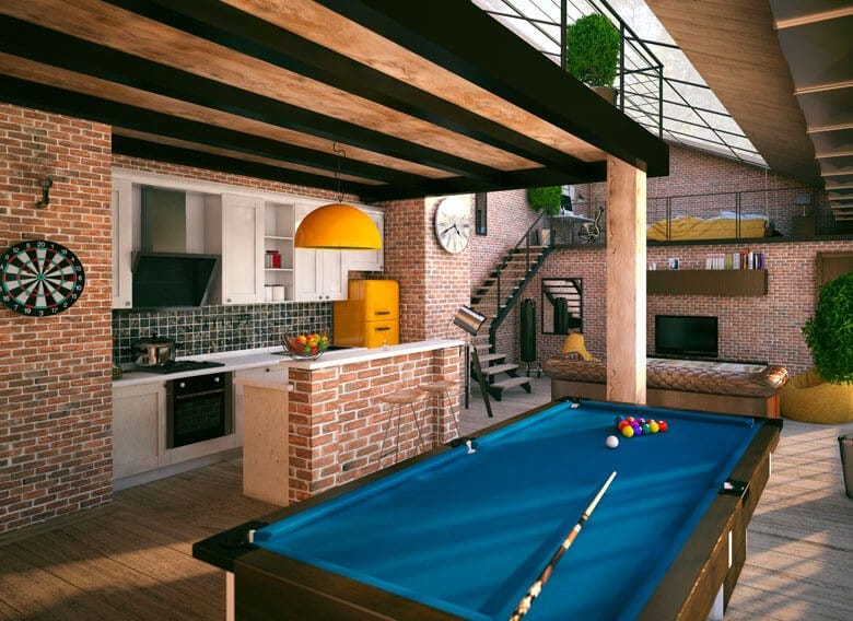Pool table in modern apartment