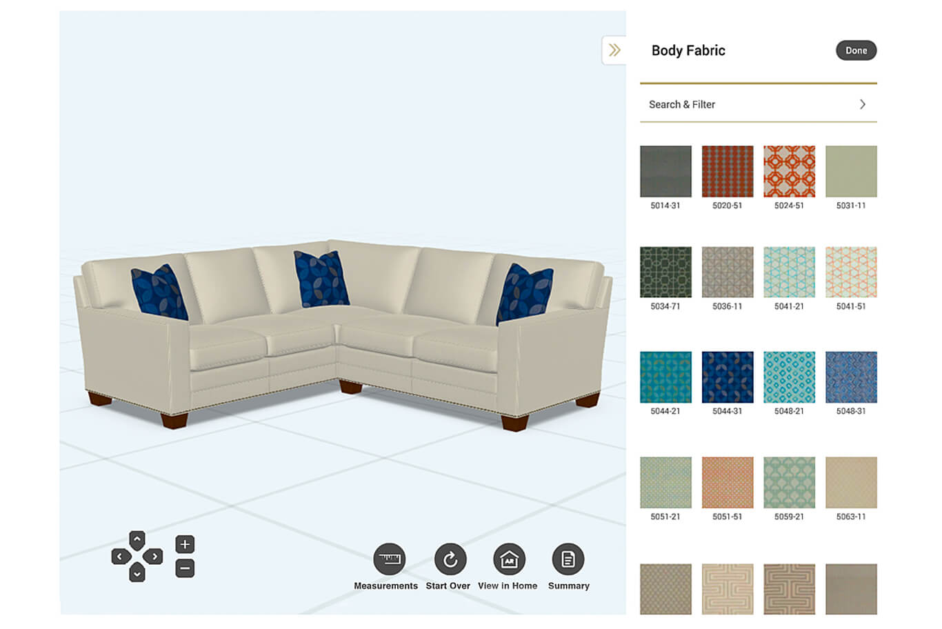 Custom furniture builder with swatches