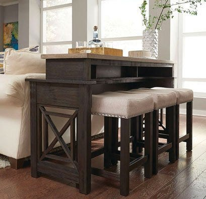Dark brown wood home bar with white fabric and wood bar stools