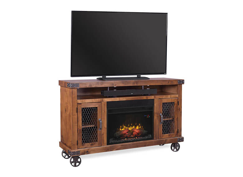 Electric Fireplace in Media Console