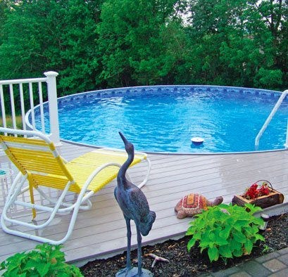 Pool with built in deck and lounge chair