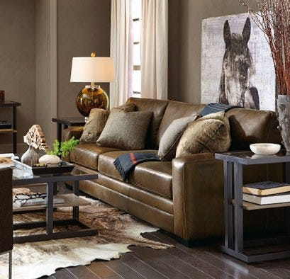 Leather sofa in well decorated living room