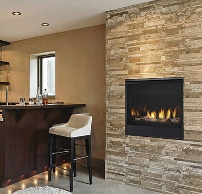 Fireplace built into brick mantle