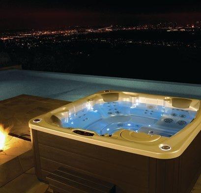 Hot tub on rooftop balcony