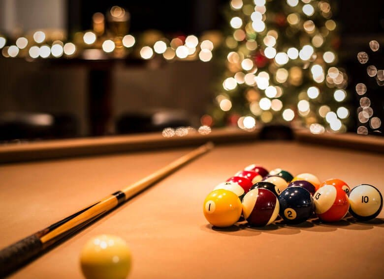Pool table at Christmas