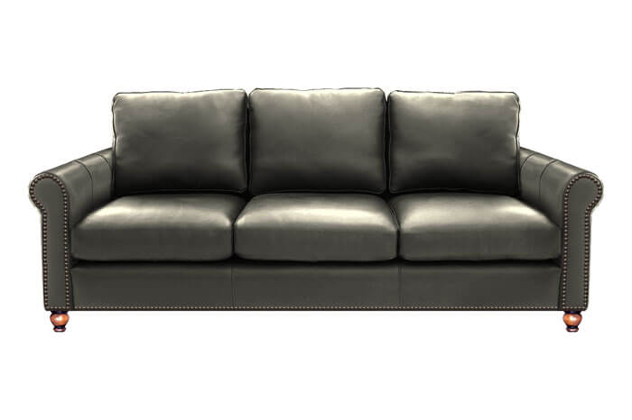 Brown leather Hyde Park sofa