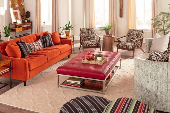 Brightly colored furniture in retro living room