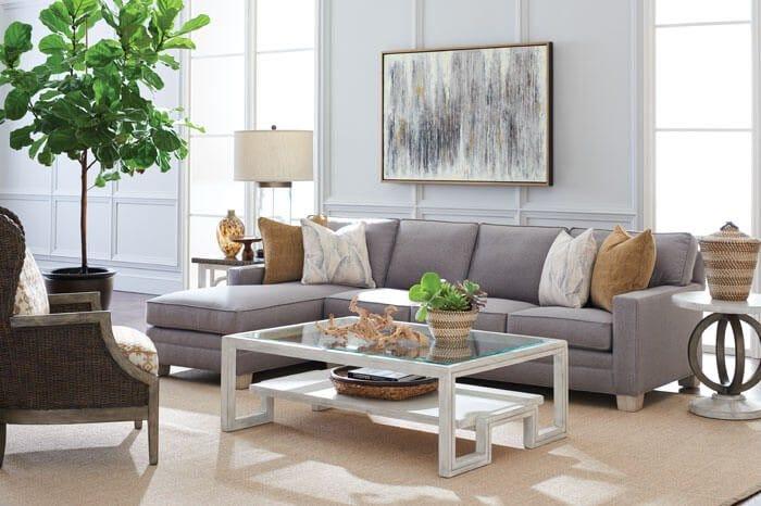 Grey Lexington sectional and armchair