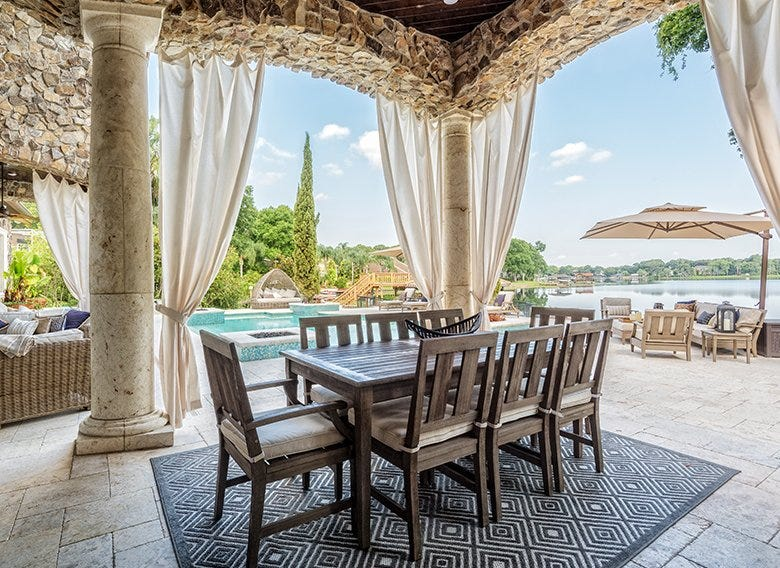 Outdoor rug beneath a patio dining set